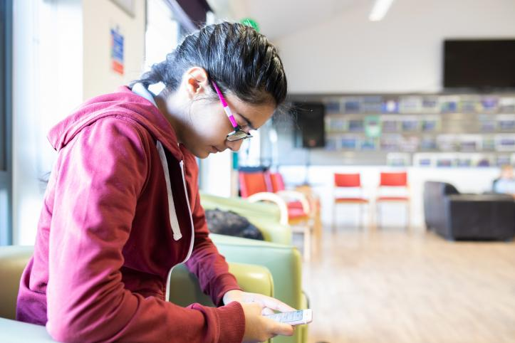 Young person on a phone